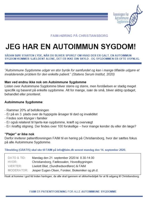 FAIM-høring på Christiansborg, d. 21. september 2020